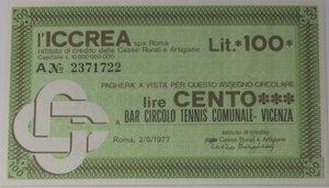 obverse: Miniassegni. ICCREA Istituto di Credito delle Casse Rurali e Artigiane Spa. Lire 100. Bar Circolo Tennis Comunale Vicenza . 02-05-1977. FDS.