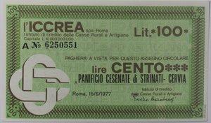 obverse: Miniassegni. ICCREA Istituto di Credito delle Casse Rurali e Artigiane Spa. Lire 100. Panificio Cesenate di Strinati. Cervia (RA). 15-06-1977. FDS.