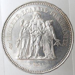 obverse: Monete Estere. Francia. 50 Franchi 1977. Ag 900. Km. 941.1. Peso 30 gr. FDC.
