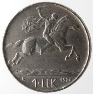 reverse: Monete Estere. Albania. Zog I. 1928-1939. Lek 1926. Ni. Km. 5. BB. Colpetto al bordo.