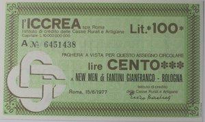 obverse: Miniassegni. ICCREA Istituto di Credito delle Casse Rurali e Artigiane Spa. Lire 100. New Men di Fantini Gianfranco Bologna. 15-06-1977. FDS.
