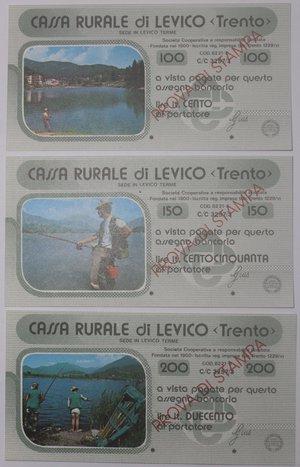 obverse: Miniassegni. Cassa Rurale di Levico. Prova di stampa. Serie figurativa Pescatori completa di 6 pezzi da 100, 150, 200, 250, 300 e 350 Lire. Al portatore. FDS.