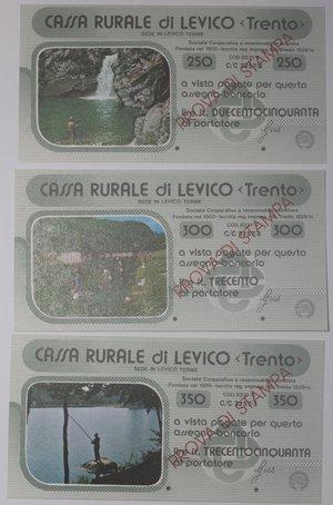 reverse: Miniassegni. Cassa Rurale di Levico. Prova di stampa. Serie figurativa Pescatori completa di 6 pezzi da 100, 150, 200, 250, 300 e 350 Lire. Al portatore. FDS.