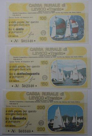 obverse: Miniassegni. Cassa Rurale di Levico. Serie figurativa Nautica completa di 6 pezzi da 100, 150, 200, 250, 300 e 350 Lire. Al portatore. 16/12/1978. FDS.
