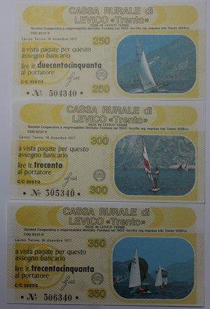 reverse: Miniassegni. Cassa Rurale di Levico. Serie figurativa Nautica completa di 6 pezzi da 100, 150, 200, 250, 300 e 350 Lire. Al portatore. 16/12/1978. FDS.