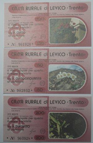 obverse: Miniassegni. Cassa Rurale di Levico. Serie figurativa Fiori completa di 6 pezzi da 100, 150, 200, 250, 300 e 350 Lire. Al portatore. 24/02/1978. FDS.