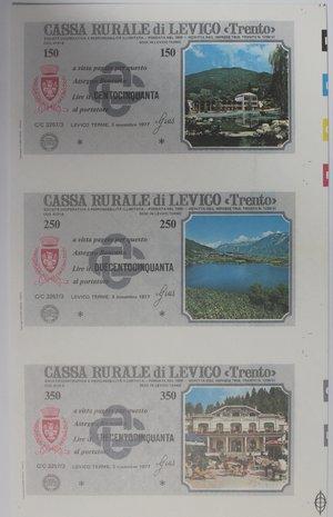 obverse: Miniassegni. Cassa Rurale di Levico. Serie figurativa Paesaggi. Foglietto di 3 pezzi da 150, 250, e 350 Lire. Al portatore. 03/11/1977. FDS.