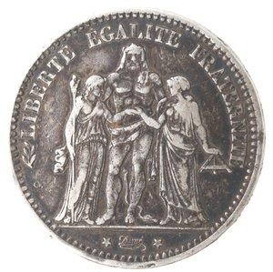 reverse: Monete Estere. Francia. 5 Franchi 1873 A. Ag. Km. 820.1. Peso gr. 24,80. Diametro mm. 37.qBB. Patina scura.