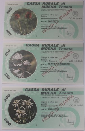 obverse: Miniassegni. Cassa Rurale di Moena. Prova di stampa. Serie figurativa Fiori completa di 6 pezzi da 100, 150, 200, 250, 300 e 350 Lire. Associazione Albergatori Moena e Passo San Pellegrino. FDS.