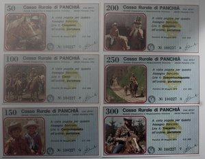 obverse: Miniassegni. Cassa Rurale di Panchià. Serie figurativa Cavalli completa di 6 pezzi da 50, 100, 150, 200, 250 e 300 Lire. Al Portatore. 29-05-1978. FDS.