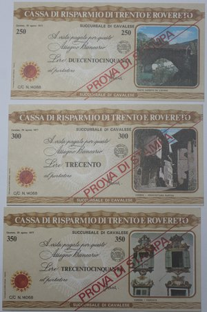 reverse: Miniassegni. Cassa di Risparmio di Trento e Rovereto. Succursale di Cavalese. Prova di Stampa. Serie figurativa Vedute completa di 6 pezzi da 100, 150, 200, 250, 300 e 350 Lire. 25-08-1977. Al Portatore. FDS.