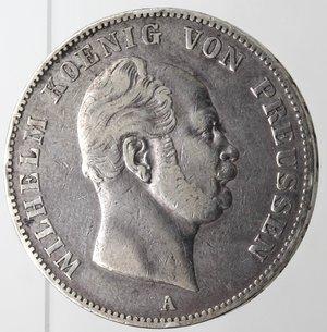 obverse: Monete Estere.Germania-Prussia.Guglielmo I. 1861-1888.Tallero 1861 A.Ag. KM 489.Peso gr. 18,35. BB.