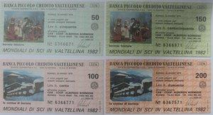 obverse: Miniassegni. Banca Piccolo Credito Valtellinese. Serie figurativa Bormio Mondiali di sci in Valtellina 1982 completa di 4 pezzi da 50, 100, 150 e 200 Lire. Coop Alberghi Bormiese. 30-03-1978. R