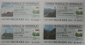 obverse: Miniassegni. Cassa Rurale di Vermiglio. Serie figurativa Paesaggi completa di 7 pezzi da 50, 100, 150, 200, 250, 300 e 350 Lire. Grand Hotel Miramonti - Passo Tonale. 15-11-1977. FDS.