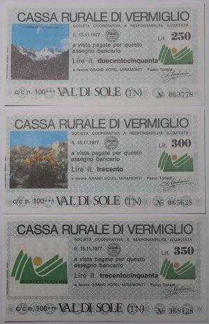 reverse: Miniassegni. Cassa Rurale di Vermiglio. Serie figurativa Paesaggi completa di 7 pezzi da 50, 100, 150, 200, 250, 300 e 350 Lire. Grand Hotel Miramonti - Passo Tonale. 15-11-1977. FDS.