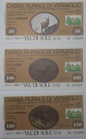 obverse: Miniassegni. Cassa Rurale di Vermiglio. Serie figurativa Animali completa di 7 pezzi da 50, 100, 150, 200, 250, 300 e 350 Lire. Alpe Sas. 17-12-1977. FDS.