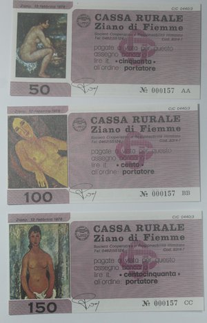 obverse: Miniassegni. Cassa Rurale Ziano di Fiemme. Serie figurativa Quaddri completa di 6 pezzi da 100, 150, 200, 250, 300 e 350 Lire. Al portatore. 13-02-1978. FDS.