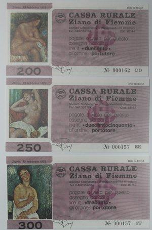 reverse: Miniassegni. Cassa Rurale Ziano di Fiemme. Serie figurativa Quaddri completa di 6 pezzi da 100, 150, 200, 250, 300 e 350 Lire. Al portatore. 13-02-1978. FDS.