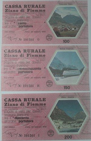 obverse: Miniassegni. Cassa Rurale Ziano di Fiemme. Serie figurativa Paesaggi completa di 6 pezzi da 100, 150, 200, 250, 300 e 350 Lire. Al portatore. 23-02-1978. FDS.