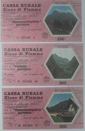 reverse: Miniassegni. Cassa Rurale Ziano di Fiemme. Serie figurativa Paesaggi completa di 6 pezzi da 100, 150, 200, 250, 300 e 350 Lire. Al portatore. 23-02-1978. FDS.