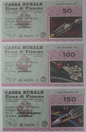 obverse: Miniassegni. Cassa Rurale Ziano di Fiemme. Serie figurativa Apollo 13 completa di 6 pezzi da 100, 150, 200, 250, 300 e 350 Lire. Al portatore. 25-02-1978. FDS.