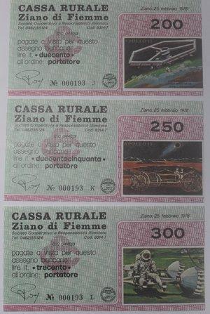 reverse: Miniassegni. Cassa Rurale Ziano di Fiemme. Serie figurativa Apollo 13 completa di 6 pezzi da 100, 150, 200, 250, 300 e 350 Lire. Al portatore. 25-02-1978. FDS.