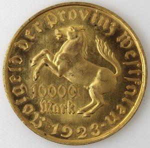 reverse: Monete Estere. Germania. 10000 Marchi 1923. Von Stein. Ot. Peso gr. 29,30. Diametro mm. 46. qFDC.