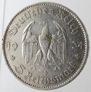 obverse: Monete Estere. Germania. Terzo Reich. 1933-1945. 5 Marchi 1934 G. Ag. Km. 82. Peso gr. 13,81. Graffio nel campo altrimenti SPL.