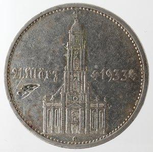 reverse: Monete Estere. Germania. Terzo Reich. 1933-1945. 5 Marchi 1934 G. Ag. Km. 82. Peso gr. 13,81. Graffio nel campo altrimenti SPL.