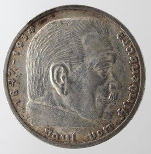 obverse: Monete Estere. Germania. Terzo Reich. 1933-1945. 5 Marchi 1936. Ag. Km. 86. Peso gr. 13,81. qSPL.
