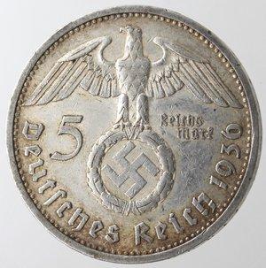 reverse: Monete Estere. Germania. Terzo Reich. 1933-1945. 5 Marchi 1936. Ag. Km. 86. Peso gr. 13,81. qSPL.