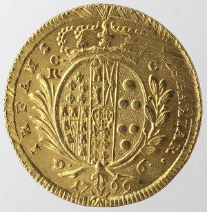 Zecche Italiane. Napoli. Ferdinando IV. 1759-1799. 6 Ducati 1769. Au. Magliocca 203. Peso gr. 8,85. SPL. RR.