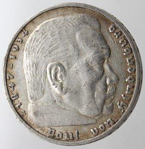 obverse: Monete Estere. Germania. Terzo Reich. 1933-1945. 5 Marchi 1936. Ag. Km. 86. Peso gr. 13,93. BB.