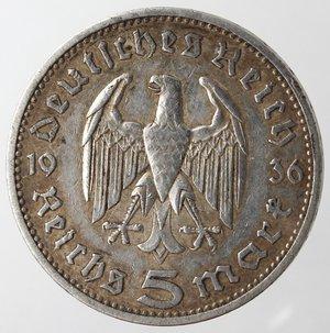 reverse: Monete Estere. Germania. Terzo Reich. 1933-1945. 5 Marchi 1936. Ag. Km. 86. Peso gr. 13,93. BB.