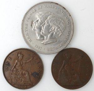 reverse: Monete Estere. Gran Bretagna. Lotto di tre monete. Notati, una corona 1981. Ni, 2 pz. da un penny 1919 e 1936. Ae.. Mediamente BB+.