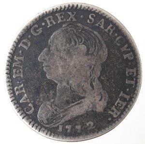 obverse: Casa Savoia. Carlo Emanuele III. 1755-1773. 1/4 di Scudo. Torino. Ag. Nom. 194. Peso gr. 8,35. Diametro mm. 31. MB.
