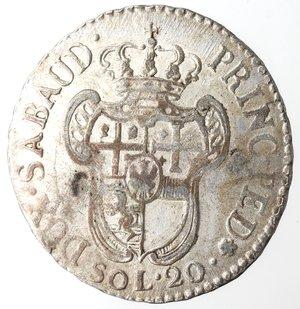 reverse: Casa Savoia.Vittorio Amedeo III. 1773-1796. 20 soldi 1796. MI. Mont. 373. Peso gr. 5,56. BB+. Ampia argentatura.