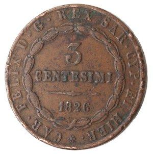 reverse: Casa Savoia. Vittorio Emanuele II. 1859-1861.Bologna. 3 centesimi 1826.Ae.M. 142. BB. Colpetti al bordo.