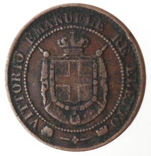 obverse: Casa Savoia. Vittorio Emanuele II. 1859-1861.Re Eletto.2 centesimi 1859.Ae.Gig. 18. BB.
