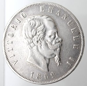 obverse: Casa Savoia. Vittorio Emanuele II. 1861-1878. 5 lire 1869 Milano. Ag. Gig. 39. qBB. Piccoli colpi al bordo. NC.