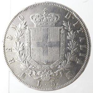 reverse: Casa Savoia. Vittorio Emanuele II. 1861-1878. 5 lire 1869 Milano. Ag. Gig. 39. qBB. Piccoli colpi al bordo. NC.