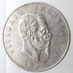 obverse: Casa Savoia. Vittorio Emanuele II. 1861-1878. 5 lire 1870 Milano. Ag. Gig. 40. BB+.