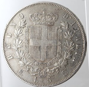 reverse: Casa Savoia. Vittorio Emanuele II. 1861-1878. 5 lire 1870 Milano. Ag. Gig. 40. BB+.