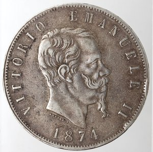 obverse: Casa Savoia. Vittorio Emanuele II. 1861-1878.5 lire 1874 Milano. Ag. Gig. 48.Colpi al bordo altrimemti BB.