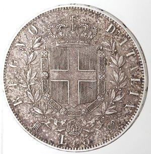 reverse: Casa Savoia. Vittorio Emanuele II. 1861-1878.5 lire 1874 Milano. Ag. Gig. 48.Colpi al bordo altrimemti BB.