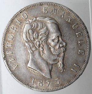 obverse: Casa Savoia. Vittorio Emanuele II. 1861-1878. 5 lire 1875 Milano. Ag. Gig. 49. qSPL. Patinata.
