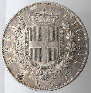 reverse: Casa Savoia. Vittorio Emanuele II. 1861-1878. 5 lire 1875 Milano. Ag. Gig. 49. qSPL. Patinata.