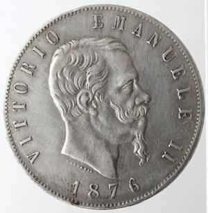 obverse: Casa Savoia. Vittorio Emanuele II. 1861-1878. 5 lire 1876 Roma. Ag. Gig. 51. BB+. Patinata.
