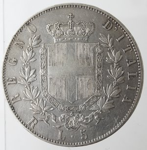 reverse: Casa Savoia. Vittorio Emanuele II. 1861-1878. 5 lire 1876 Roma. Ag. Gig. 51. BB+. Patinata.