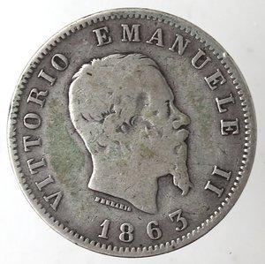 obverse: Casa Savoia. Vittorio Emanuele II. 1861-1878.Lira 1863 Milano Valore. Ag. Gig. 68.MB. NC.